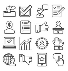 vote icons set on white background line style vector image