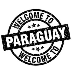 Welcome to paraguay black stamp vector
