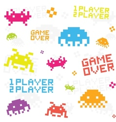 White space invaders pattern vector image