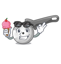 With ice cream character pizza cutter with handle vector