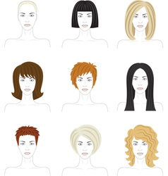 woman hairstyle set vector image