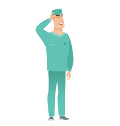 young caucasian doctor in uniform laughing vector image