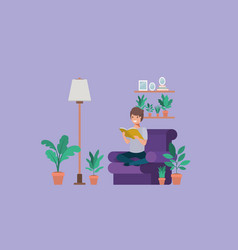 Young student sitting reading book in livingroom vector