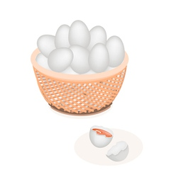 An Fresh White Eggs in Brown Basket vector image