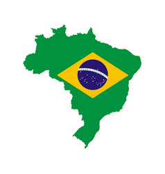 brazil outline and flag vector image