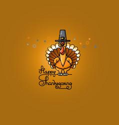 cartoon turkey in pilgrim hat thanksgiving vector image vector image