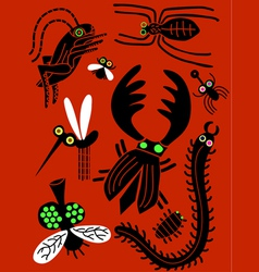insect icon set vector image vector image
