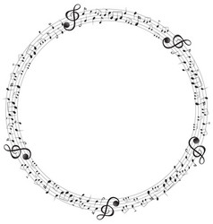 music notes on round scales frame vector image