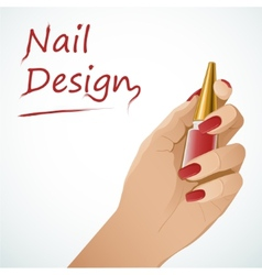 Woman hand holding a bottle with nail lacquer vector image vector image