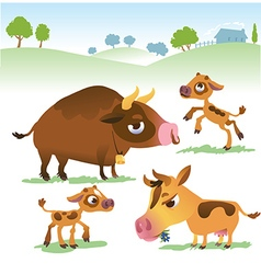 Cartoon cow set cows bull and calf bull vector image vector image