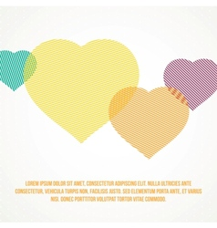 Striped heart vector image vector image