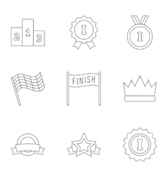 Victory and reward icons set outline style vector image vector image