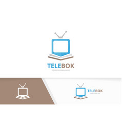 book and tv logo combination television vector image vector image