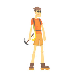 mountaineer with ice pick part of teenagers vector image