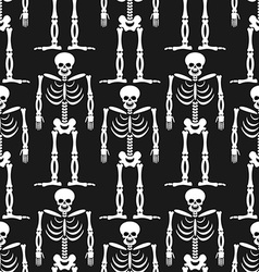 Skeleton seamless pattern Bones and skull ornament vector image