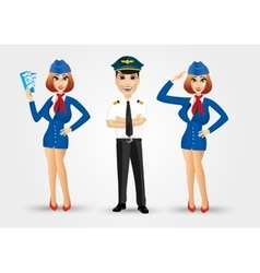 two beautiful stewardesses and handsome pilot vector image vector image