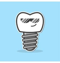 Cartoon dental implant vector image