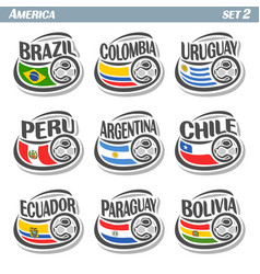 flags american teams with soccer ball vector image