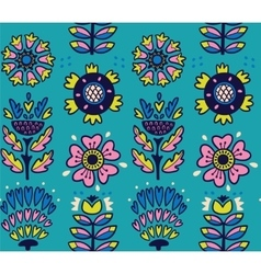Folk art pattern with flowers vector image vector image