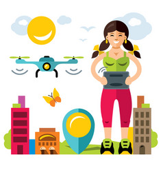 girl quadrocopter flight controls flat vector image