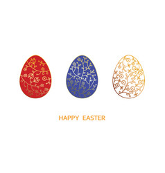 happy easter card with eggs blue red white vector image