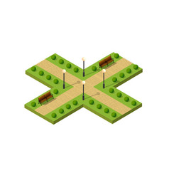 isometric metropolis city park with streets and vector image