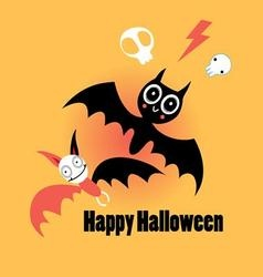little funny bats for Halloween on an orange vector image