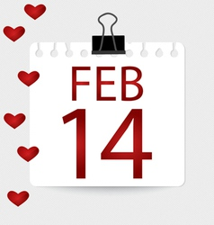 Valentines calendar - 14 february vector image