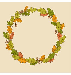 wreath of oak branches vector image vector image