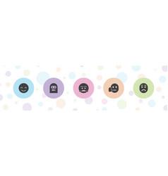 5 emoticon icons vector