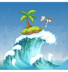 A girl diving on the sea with a small island vector