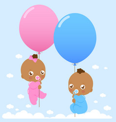 african american twin babies holding balloons vector image