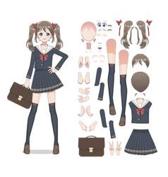 Anime manga schoolgirl in a skirt stockings vector