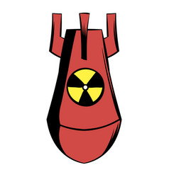 Atomic red bomb icon cartoon vector