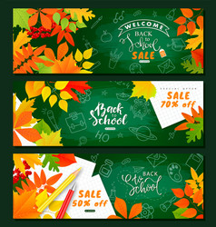 back to school saleset of horizontal banners vector image