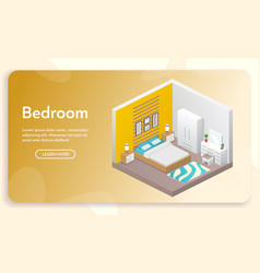 banner bedroom interior in isometric vector image