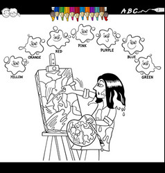 Basic colors coloring book with artist painter vector
