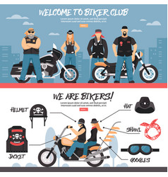 Biker club banners set vector