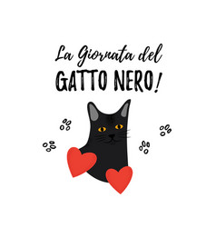 black cat day greeting card for a traditional vector image