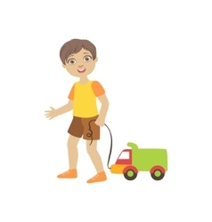 Boy Walking Dragging Toy Truck On A String vector