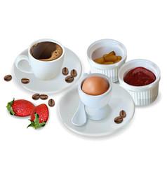 breakfast coffee egg jam realistic 3d vector image