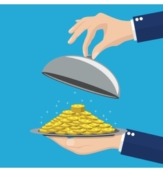 Businessman hand opens serve cloche with money vector image