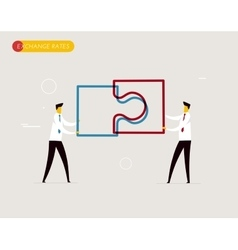 Businessmen connect puzzle vector