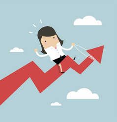 businesswoman riding success arrow graph vector image