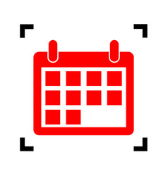 calendar sign red icon vector image