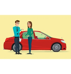 Car Showroom Manager sells and woman buying a new vector image