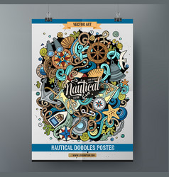 cartoon hand drawn doodles nautical poster design vector image
