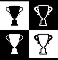 champions cup sign black and white icons vector image