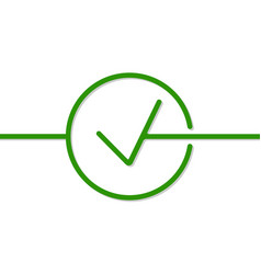 Check mark icon in the style of a single line vector