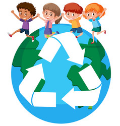 Children around the world recycling concept vector